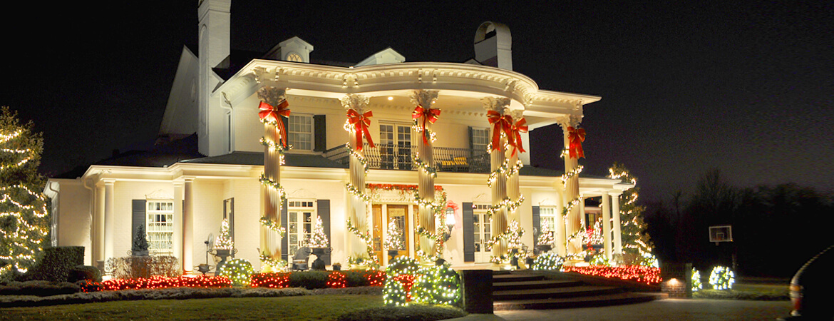 Beautiful house with Christmas decorations