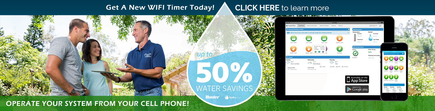 Up to 50% water savings when Pacific Lawn Sprinklers installs a smart wifi controller
