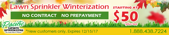 Lawn Sprinklers Winterization $50 only!
